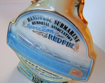 Jim Beam Manitowoc Submarine Bourbon Decanter - 1970