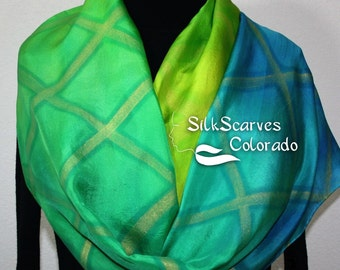 Green Silk Scarf. Hand Painted Silk Scarf. Lime Yellow Silk Scarf. ORIENTAL DREAM Large 14x72. Free Gift Wrapping. Silk Scarves Colorado