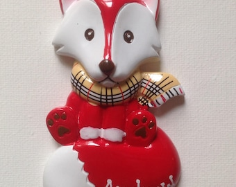 33% Off Personalized Red Fox Forest Friends Baby Boy's First Christmas Ornament -Newborn,1st Birthday , Birth Announcement Christening Favor