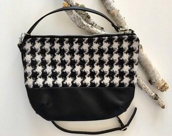 Houndstooth & Vegan Handmade Bag Purse, Crossbody Bag, Crossbody Purse