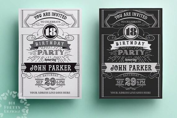 Vintage birthday invitation template printable birthday