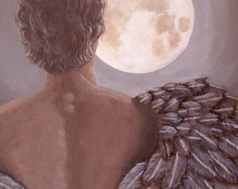 Man Angel in the Moonlight, Original Fantasy Painting, Fine Art, Night Sky, Angel Wings