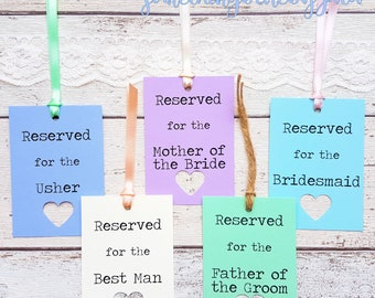 15 Rustic Wedding Reserved Sign Tags Personalised. 21 Colour Options, with Heart Cut Out Detail. Lace, Twine or Ribbon. Kraft Wedding Sign