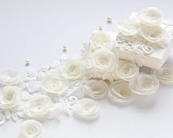Ivory Fabric Flowers -DIY Craft Supplies -Floral Embellishment -Flower Appliques -DIY Bouquet Supplies -Party Favors Decor -Floral Wedding