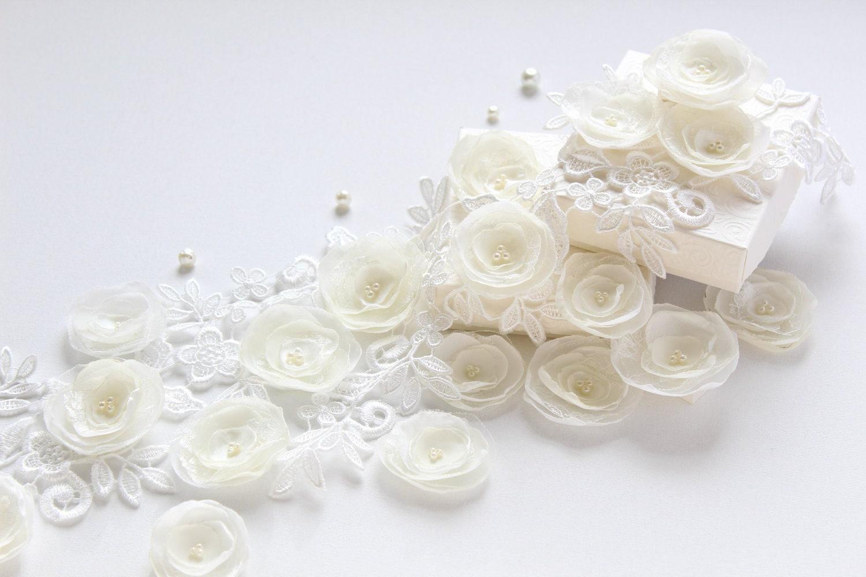 Elfenbein Stoff Blumen DIY Bastelbedarf floralen
