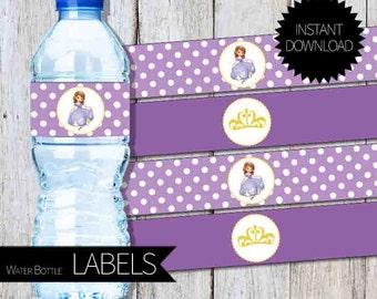 Sofia The First Birthday Party PRINTABLE Water Bottle LABELS- Instant Download Princess Sofia Party   Disney Sofía