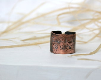 Hand Forged Copper  Ring - Womens ring -  Copper Ring - Rustic Texture Ring - Wide Copper Ring - Patina Jewelry - 10 Size RIng