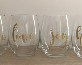 Holiday Stemless Wine Glass Set of 4! Peace, Love, Joy, Hope; Christmas Gift for Hostess, Wine Lover, New Couple, Wedding, Anniversary
