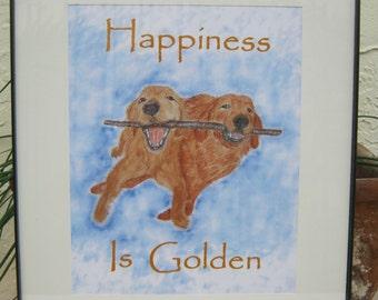 Golden Retriever Print Golden Retriever Art - Happiness is Golden