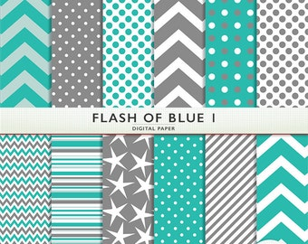 Digital Paper - Flash of Blue -  Scrapbooking Instant Download - Personal & Commercial G7537