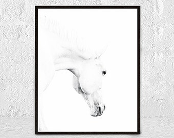 Horse Print, Horse Photo, Horse Photography, Horse Art, White Horse, Horse Printable Art, Black And White Prints, nursery animal print