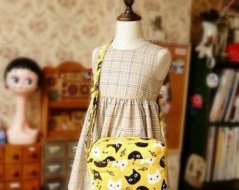Handmade Japanese Shoulder Messenger Bag for girl and kids - Cat