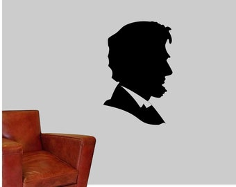 Abraham Lincoln Wall Vinyl Decal - Abe Lincoln Wall Sticker - Honest Abe Outline Vinyl Decal