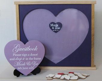 Wedding guestbook alternative wood guest book alternative guest book wedding drop box  purple guestbook drop box custom made heart box gift