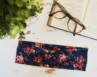 Navy and Pink Floral Headband