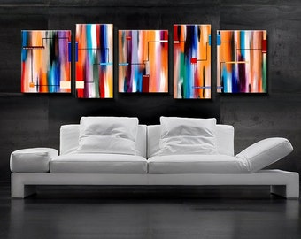 Large Abstract Painting, Original painting, Red Orange Blue Abstract 24x72 - 6 Feet - Five panels- HUGE Original Painting