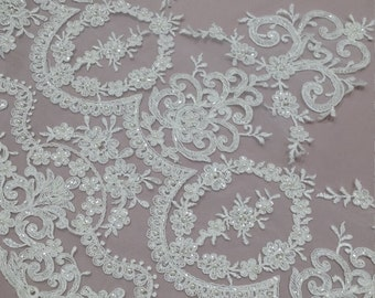 Beaded ivory lace trimming, Sequin lace trim, Pearl lace, French lace trim Chantilly lace, Bridal lace, Wedding lace, White lace EVSL015CB