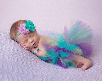 Newborn Multicolor Tutu; Flower Headband Included!