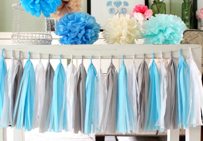 Light Blue White Grey Tissue Paper Tassel Garland Wedding