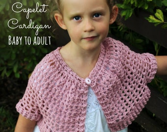 Download Now - CROCHET PATTERN Capelet Cardigan - Baby to Ladies X L - Pattern PDF