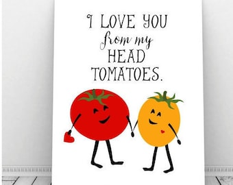 I Love You Art, Valentine Art, Instant Download, Printable Art, Funny Kitchen Art, Couples Art, Romantic Art, Funny Pun, Tomatoes
