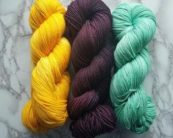 Set of 3 Immortal Sport weight Hand-dyed Yarn Ready to Ship Superwash merino