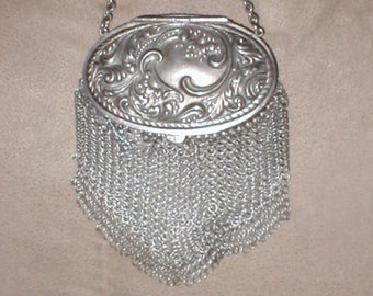 Antique  Silver Chainmail Mesh Purse