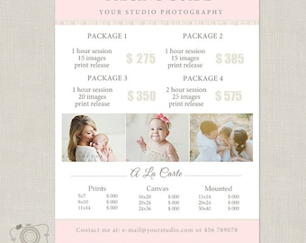 Price List Template - Photography Marketing Board - Pricing Guide - Pricing List - Price Sheet -027 - C193, INSTANT DOWNLOAD