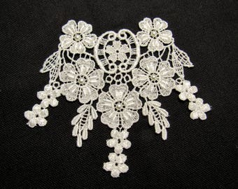 Floral Finery: Large Sew-On Ivory Lace Applique - New / Unused, High Quality, Hand-Washable