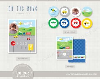 Transportation On the Move Printable Birthday Party Package by tania's design studio