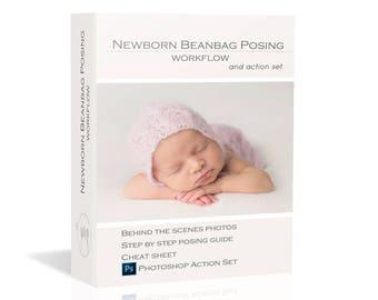 40% OFF Newborn Beanbag Posing Workflow - Guide + BONUS cheat sheet + ACTION Set