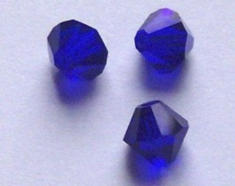 Swarovski crystal bicone beads 4mm COBALT blue style 5301 Rare beads 48 pieces per lot