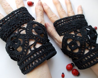 Crocheted Cotton Gloves Women L Ready To Ship Victorian Fingerless Summer Opera Wedding Lace Evening Hand Knitted Bridal Party Black B84