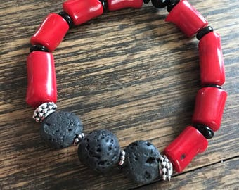 Red Coral and Lava Bead stretch bracelet // Essential Oils // Diffuser