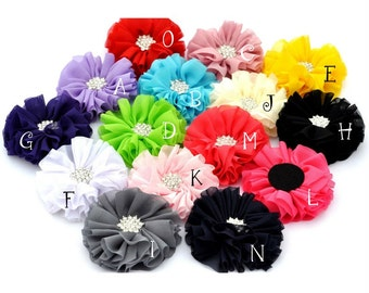 Fluffy Ballerina Chiffon Flowers+Rhinestone Snow Button Artificial Fabric Flowers For Baby Headbands Diy Flower Supplies 6.5cm