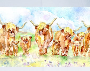 Highland Cows - Greeting Card - Taken from an original Sheila Gill Watercolour Painting.