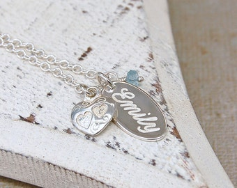 Personalized Silver Name Charm Necklace with Birthstone
