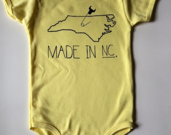 Made in NC, 12-18 months, North Carolina Baby one-piece, Durham, Screen printed romper -  Yellow with Black print