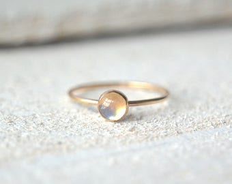 Gold Moonstone Ring- Moonstone Ring Gold, Dainty Moonstone Ring, Stackable Ring, Stacking Ring, Moonstone Ring, Natural Moonstone Ring