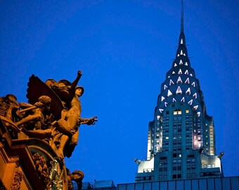 New York Photography Chrysler Building Photo Grand Central Print nyc Photo City Night Urban Blue Skyscraper nyc3b