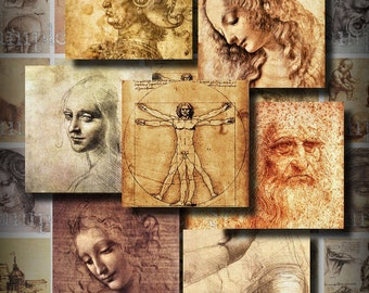 DaVinci Drawings 1.5 Inch Squares Digital Collage Sheet Scrapbooking Cards Decoupage Images Magnets Printable Instant Download