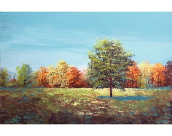 Fall Tree Autumn ORIGINAL Painting  landscape painting acrylic sunset impressionism  trees tree gold rust teal yellow olive Canvas 24x36