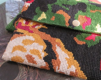 Tapestry Pouch with French Antique needlepoint Carpet: Le Magagnosc