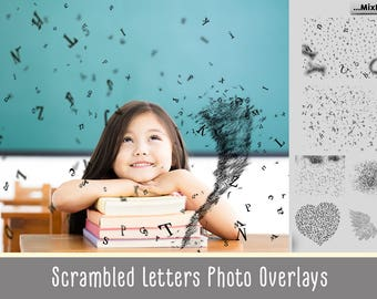 Falling letters Photo Overlays,Scrambled letters, photoshop overlay,photoshop brushes,PNG Transparent background,image overlay