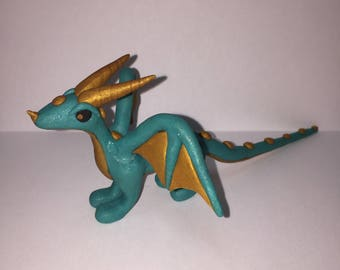 Blue and Gold Dragon Figure