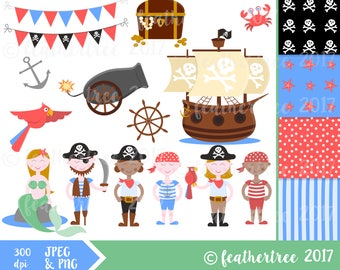 Pirate Clipart - Instant Download - Pirates, Ship, mermaid, cannon 300 dpi JPEG and PNG - plus digital papers