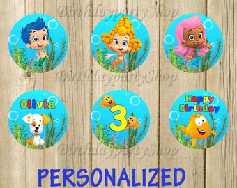 Bubble Guppies Cupcake Toppers, Bubble Guppies Birthday Circles, Personalized , Digital File