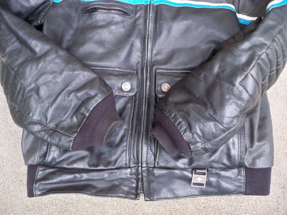 Vintage Hein Men's Large Racing Indy Snowmobile Jacket in Korea Gericke Leather Polaris Size Made 6rw6p