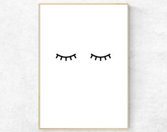 Eyelashes, Nursery Minimalist wall art, Eyelashes wall decor, Kids Room Art Print, Eyelashes Poster, Nordic Nursery Art, Scandinavian print