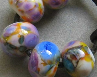 Spring Fling Lampwork Spacer Handmade frit Glass Beads Orange Purple White 2-6 bead sets
